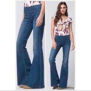 Free People Pull On Kick Flare Jeans Denim High 26